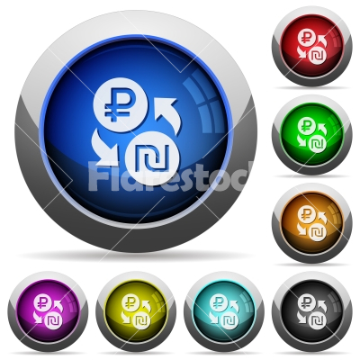 Ruble Shekel money exchange round glossy buttons - Ruble Shekel money exchange icons in round glossy buttons with steel frames