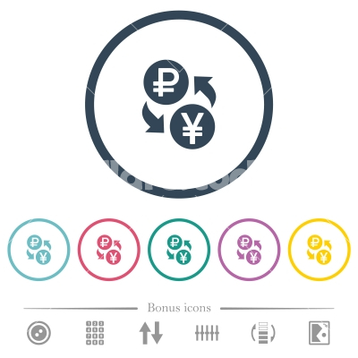 Ruble Yen money exchange flat color icons in round outlines - Ruble Yen money exchange flat color icons in round outlines. 6 bonus icons included.
