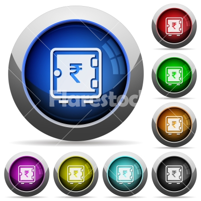 Rupee strong box round glossy buttons - Rupee strong box icons in round glossy buttons with steel frames