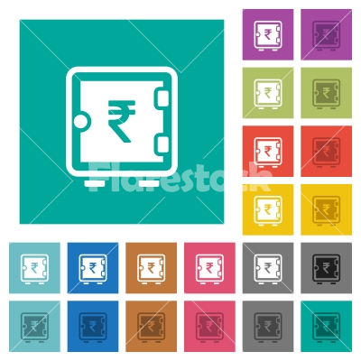 Rupee strong box square flat multi colored icons - Rupee strong box multi colored flat icons on plain square backgrounds. Included white and darker icon variations for hover or active effects. - Free stock vector