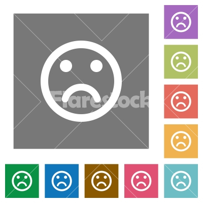 Sad emoticon square flat icons - Sad emoticon flat icons on simple color square backgrounds - Free stock vector