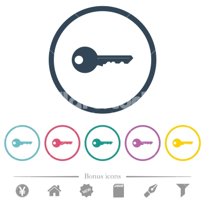 Safety key flat color icons in round outlines - Safety key flat color icons in round outlines. 6 bonus icons included.