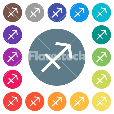 Sagittarius zodiac symbol flat white icons on round color backgrounds - Sagittarius zodiac symbol flat white icons on round color backgrounds. 17 background color variations are included.