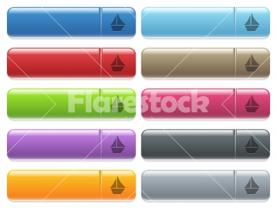Sailboat icons on color glossy, rectangular menu button - Sailboat engraved style icons on long, rectangular, glossy color menu buttons. Available copyspaces for menu captions. - Free stock vector