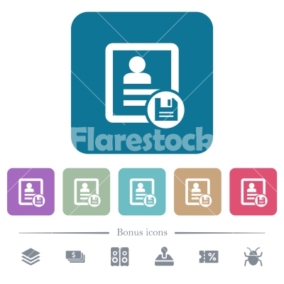 Save contact changes flat icons on color rounded square backgrounds - Save contact changes white flat icons on color rounded square backgrounds. 6 bonus icons included