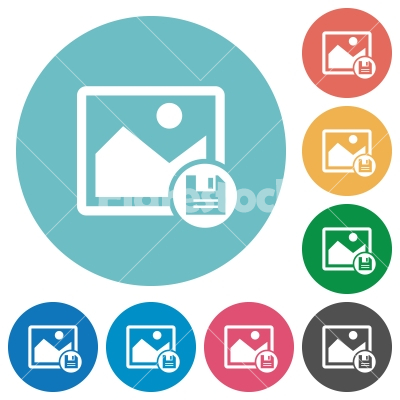 Save image flat round icons - Save image flat white icons on round color backgrounds