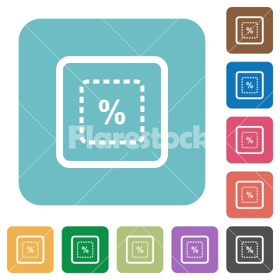 Scale object by percent rounded square flat icons - Scale object by percent white flat icons on color rounded square backgrounds
