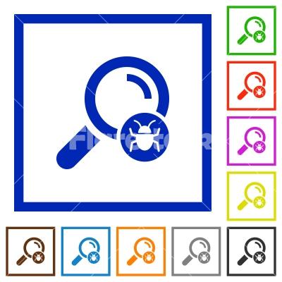 Scanning for malware flat framed icons - Scanning for malware flat color icons in square frames on white background