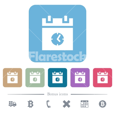 schedule event time flat icons on color rounded square backgrounds - schedule event time white flat icons on color rounded square backgrounds. 6 bonus icons included