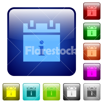 Schedule info color square buttons - Schedule info icons in rounded square color glossy button set