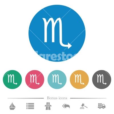 Scorpio zodiac symbol flat round icons - Scorpio zodiac symbol flat white icons on round color backgrounds. 6 bonus icons included. - Free stock vector