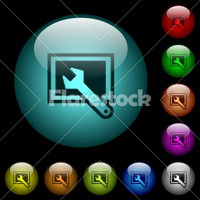 Screen settings icons in color illuminated glass buttons - Screen settings icons in color illuminated spherical glass buttons on black background. Can be used to black or dark templates