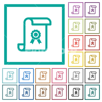 Scroll with certificate flat color icons with quadrant frames ...