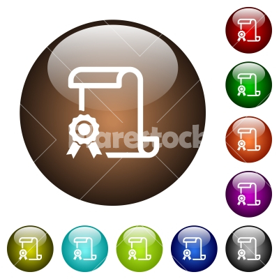 Scroll with certificate on left color glass buttons - Scroll with certificate on left white icons on round color glass buttons