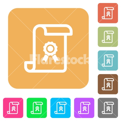 Scroll with certificate rounded square flat icons - Scroll with certificate flat icons on rounded square vivid color backgrounds.