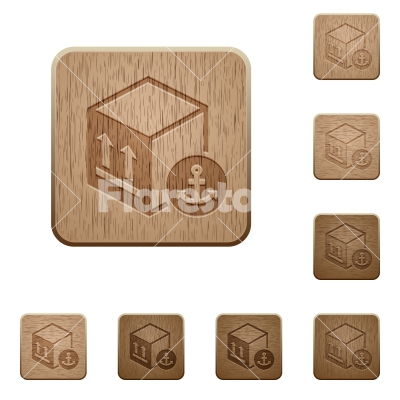 Sea package transportation wooden buttons - Sea package transportation on rounded square carved wooden button styles