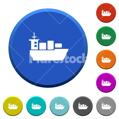 Sea transport beveled buttons - Sea transport round color beveled buttons with smooth surfaces and flat white icons