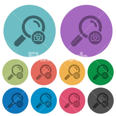 Search photo color darker flat icons - Search photo darker flat icons on color round background