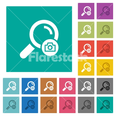 Search photo square flat multi colored icons - Search photo multi colored flat icons on plain square backgrounds. Included white and darker icon variations for hover or active effects.
