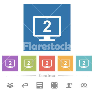 Secondary display flat white icons in square backgrounds - Secondary display flat white icons in square backgrounds. 6 bonus icons included. - Free stock vector
