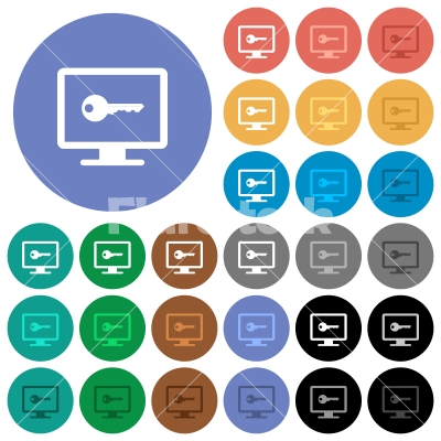 Secure desktop round flat multi colored icons - Secure desktop multi colored flat icons on round backgrounds. Included white, light and dark icon variations for hover and active status effects, and bonus shades on black backgounds. - Free stock vector