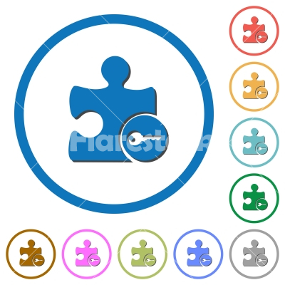 Secure plugin icons with shadows and outlines - Secure plugin flat color vector icons with shadows in round outlines on white background