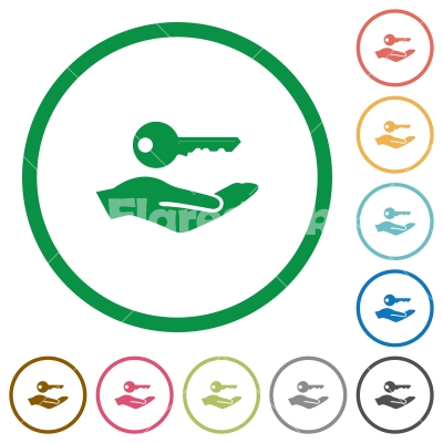 Security service flat icons with outlines - Security service flat color icons in round outlines on white background