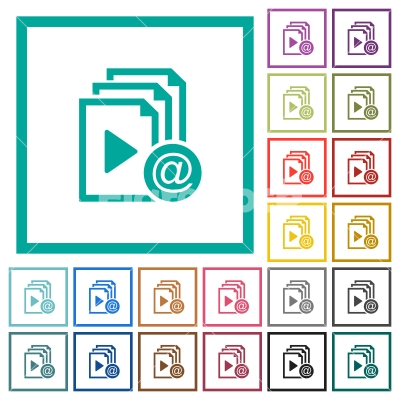 Send playlist via email flat color icons with quadrant frames - Send playlist via email flat color icons with quadrant frames on white background