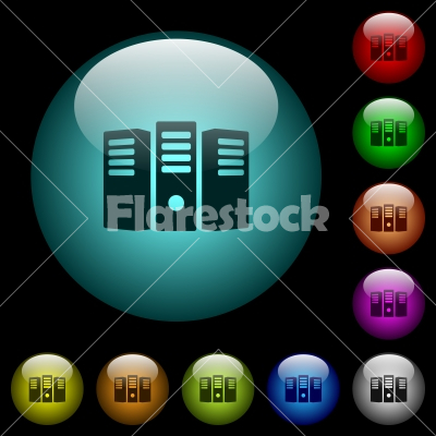 Server hosting icons in color illuminated glass buttons - Server hosting icons in color illuminated spherical glass buttons on black background. Can be used to black or dark templates