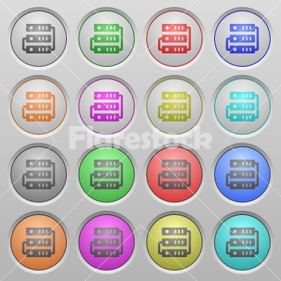 Servers plastic sunk buttons - Set of servers plastic sunk spherical buttons. - Free stock vector