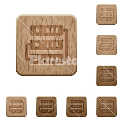 Servers wooden buttons - Set of carved wooden servers buttons in 8 variations. - Free stock vector