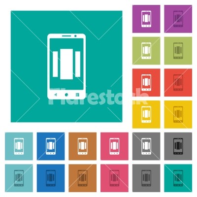 Setting up mobile homescreen square flat multi colored icons - Setting up mobile homescreen multi colored flat icons on plain square backgrounds. Included white and darker icon variations for hover or active effects. - Free stock vector