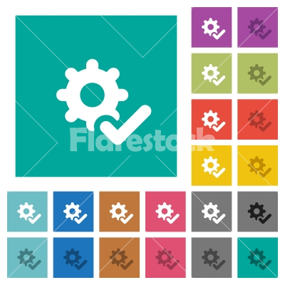 Settings ok square flat multi colored icons - Settings ok multi colored flat icons on plain square backgrounds. Included white and darker icon variations for hover or active effects.