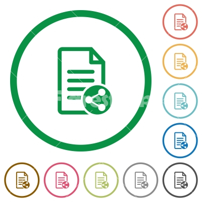 Share document flat icons with outlines - Share document flat color icons in round outlines on white background
