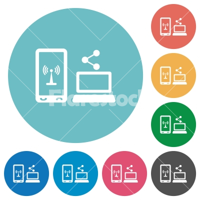 Share mobile internet flat round icons - Share mobile internet flat white icons on round color backgrounds