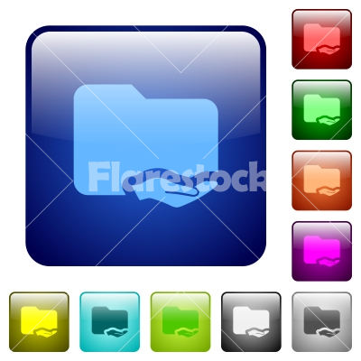 Shared folder color square buttons - Shared folder icons in rounded square color glossy button set