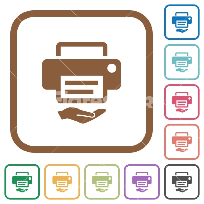 Shared printer simple icons - Shared printer simple icons in color rounded square frames on white background