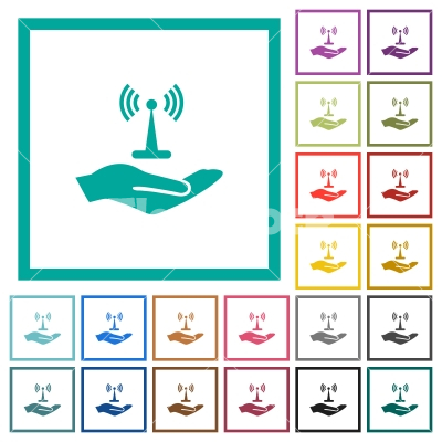 Sharing wireless network flat color icons with quadrant frames - Sharing wireless network flat color icons with quadrant frames on white background