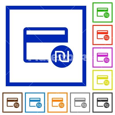 Shekel credit card flat framed icons - Shekel credit card flat color icons in square frames on white background