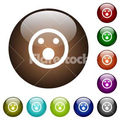 Shocked emoticon color glass buttons - Shocked emoticon white icons on round color glass buttons