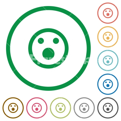 Shocked emoticon flat icons with outlines - Shocked emoticon flat color icons in round outlines