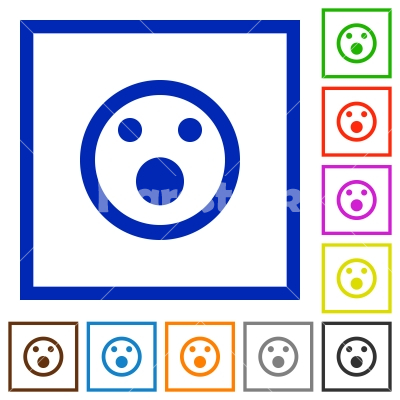 Shocked emoticon framed flat icons - Set of color square framed Shocked emoticon flat icons