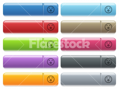 Shocked emoticon icons on color glossy, rectangular menu button - Shocked emoticon engraved style icons on long, rectangular, glossy color menu buttons. Available copyspaces for menu captions.