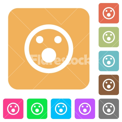Shocked emoticon rounded square flat icons - Shocked emoticon flat icons on rounded square vivid color backgrounds.
