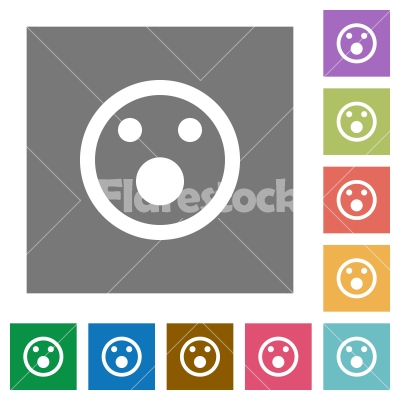 Shocked emoticon square flat icons - Shocked emoticon flat icons on simple color square backgrounds