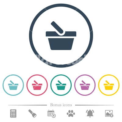 Shopping basket flat color icons in round outlines - Shopping basket flat color icons in round outlines. 6 bonus icons included.