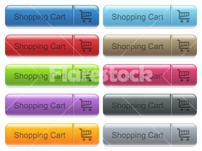 Shopping cart captioned menu button set - Set of shopping cart glossy color captioned menu buttons with engraved icons - Free stock vector