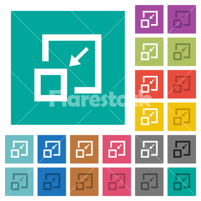 Shrink window square flat multi colored icons - Shrink window multi colored flat icons on plain square backgrounds. Included white and darker icon variations for hover or active effects. - Free stock vector