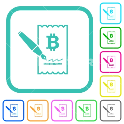 Signing Bitcoin cheque vivid colored flat icons - Signing Bitcoin cheque vivid colored flat icons in curved borders on white background
