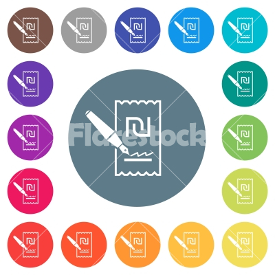 Signing new Shekel cheque flat white icons on round color backgrounds - Signing new Shekel cheque flat white icons on round color backgrounds. 17 background color variations are included. - Free stock vector